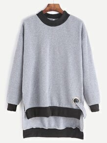 Grey Contrast Trim High Low Sweatshirt With Metal Eyelet