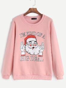 Pink Father Christmas Print Sweatshirt