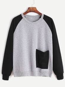 Contrast Raglan Sleeve Patch Pocket Sweatshirt