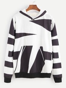 Black And White Geometric Print Hooded Sweatshirt