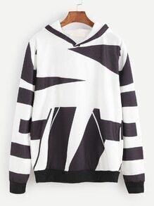 Black And White Geometric Print Hooded Sweatshirt