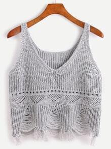 Grey Eyelet Fringe Hem Crop Sweater Vest