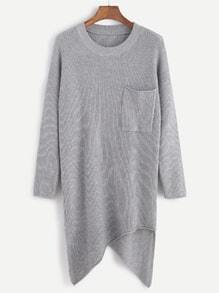 Grey Drop Shoulder Asymmetric Hem Pocket Ribbed Knit Sweater