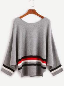 Grey Striped Trim Loose Sweater