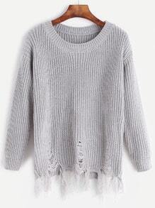 Grey Distressed Fringe Hem Sweater