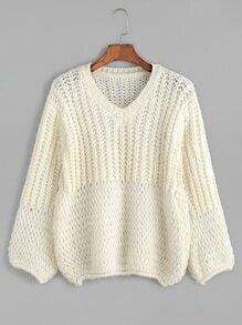 Beige V Neck Casual Sweater