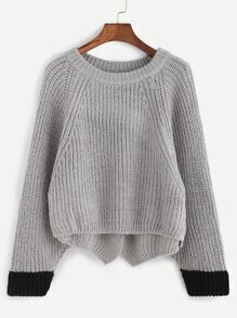 Grey Contrast Trim High Low Slit Back Sweater