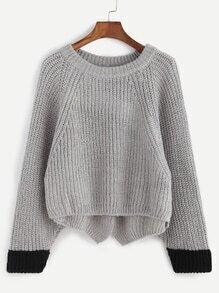 Grey Contrast Trim High Low Slit Back Sweater