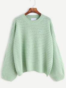 Pale Green Dropped Shoulder Seam Textured Sweater