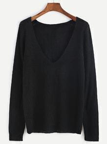 Black Deep V Neck Long Sleeve Sweater