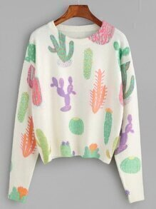 Beige Dropped Shoulder Seam Cactus Knitwear