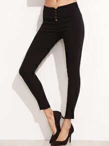 Black Button Embellished Skinny Pants