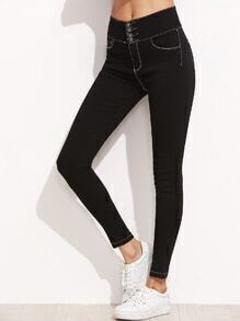 Black High Waist Skinny Pants With Stitch Detail