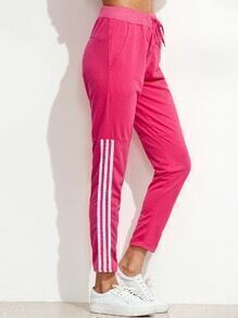 Hot Pink Striped Side Tie Waist Pants