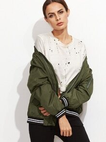 Army Green Varsity Striped Trim Embroidered Bomber Jacket