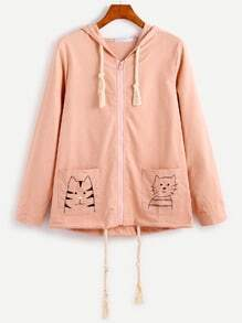 Pink Dual Pocket Cat Embroidery Drawstring Hooded Coat