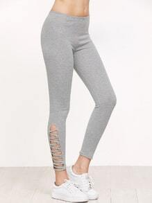 Grey Lattice Hem Leggings