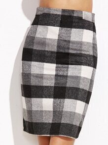 Check Plaid Zipper Back Skirt