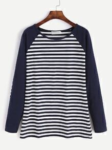 Contrast Raglan Sleeve Elbow Patch Striped T-shirt