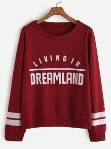 Burgundy Varsity Print Sweatshirt
