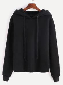 Black Drop Shoulder Hooded Sweatshirt