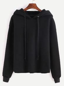 Black Drop Shoulder Hooded Sweatshirt