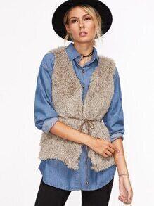 Pale Khaki Fluffy Sleeveless Coat
