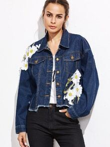 Dark Blue Appliques Raw Hem Denim Jacket