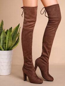 Khaki Faux Suede High Heel Thigh High Boots