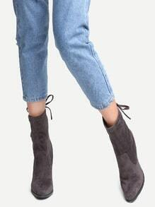 Grey Faux Suede Point Toe Tie Back Boots