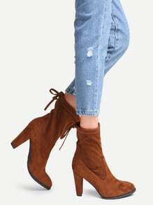 Brown Faux Suede Point Toe Tie Back Boots