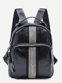 Black Pebbled PU Front Zipper Backpack