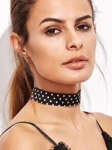 Black Polka Dot Choker Necklace