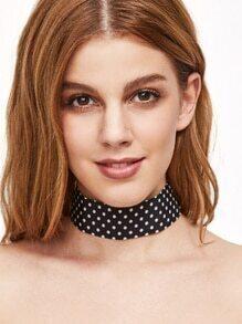Black Polka Dot Wide Choker Necklace