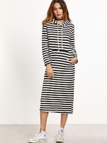 Black White Striped Drawstring Hooded Sweatshirt Dress