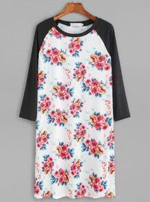 Contrast Flower Print Raglan Sleeve Tee Dress