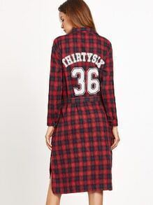 Print Back Plaid Slit Side Shirt Dress With Belt