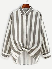 Vertical Striped Dropped Shoulder Seam Button Shirt