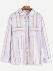 Vertical Striped Dual Pocket Front Shirt