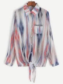 Tie Dye Knot Front Pocket Chiffon Blouse