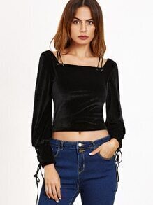 Black Velvet Square Neck Lace Up Crop Top