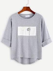 Grey Daisy Print Patch High Low Cuffed T-shirt