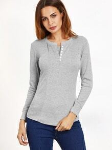 Light Grey Button Embellished Slim T-shirt