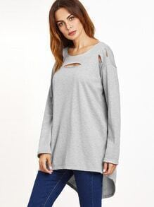 Grey Drop Shoulder High Low Ripped Loose T-shirt
