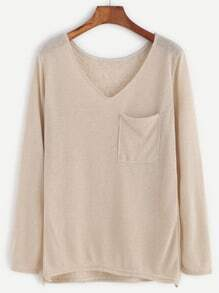 Apricot V Neck Dip Hem Pocket T-shirt
