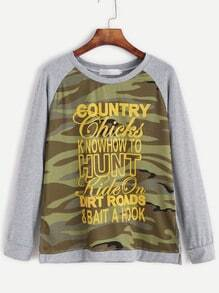 Grey Contrast Camo Letter Print Raglan Sleeve Sweatshirt