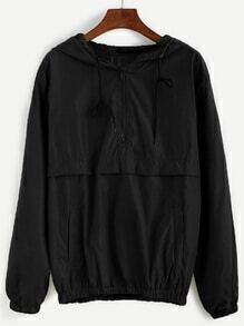 Black Drawstring Hooded Zip Detail Sweatshirt