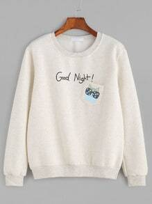 Letter And Cat Print Pocket Slub Sweatshirt