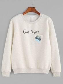 Letter And Cat Print Pocket Slub Sweatshirt