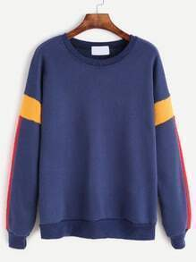 Blue Contrast Dropped Shoulder Seam Sweatshirt